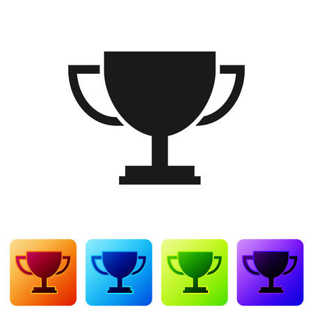 Grey Trophy cup icon isolated on white background. Award symbol. Champion cup icon. Set icon in color square buttons. Vector Illustration