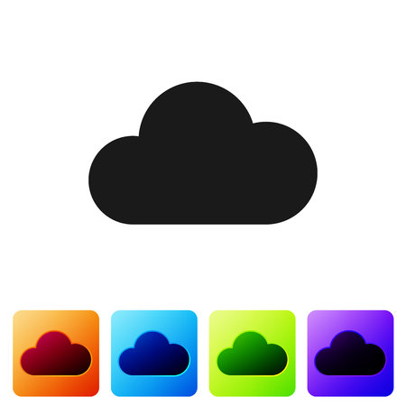 Grey Cloud icon isolated on white background. Set icon in color square buttons. Vector Illustration