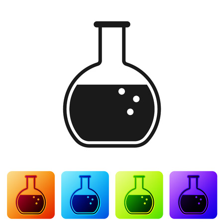 Black Test tube and flask - chemical laboratory test icon isolated on white background. Set icon in color square buttons. Vector Illustration
