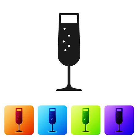 Grey Glass of champagne icon isolated on white background. Set icon in color square buttons. Vector Illustration Ilustracja