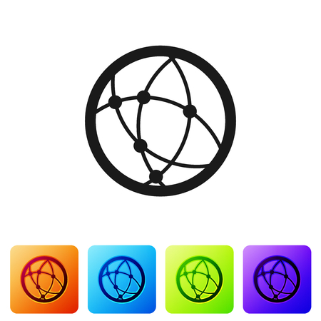 Grey Global technology or social network icon isolated on white background. Set icon in color square buttons. Vector Illustration Imagens - 124976457