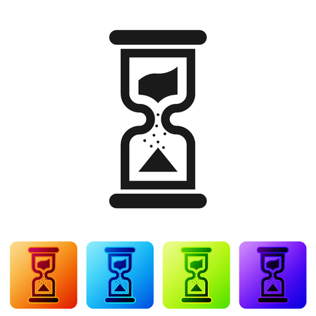Grey Old hourglass with flowing sand icon isolated on white background. Sand clock sign. Business and time management concept. Set icon in color square buttons. Vector Illustration Çizim