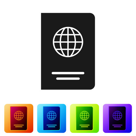 Grey Passport with biometric data icon isolated on white background. Identification Document. Set icon in color square buttons. Vector Illustration