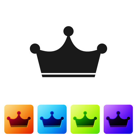 Grey Crown icon isolated on white background. Set icon in color square buttons. Vector Illustration