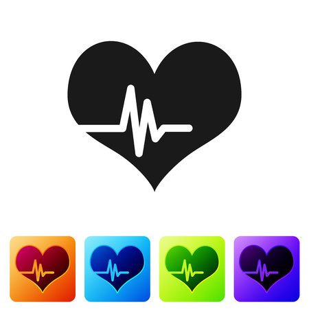 Grey Heart rate icon isolated on white background. Heartbeat sign. Heart pulse icon. Cardiogram icon. Set icon in color square buttons. Vector Illustration