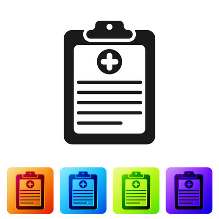 Grey Medical clipboard with clinical record icon isolated on white background. Health insurance form. Document: clinical record, prescription, medical check marks report. Vector Illustration