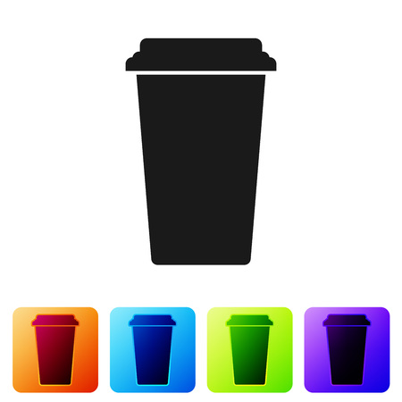 Black Coffee cup icon isolated on white background. Disposable coffee cup with hot coffee. Set icon in color square buttons. Vector Illustration Illustration
