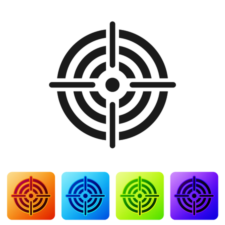 Grey Target sport for shooting competition icon isolated on white background. Clean target with numbers for shooting range or pistol shooting. Set icon in color square buttons. Vector Illustration
