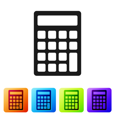 Grey Calculator icon isolated on white background. Accounting symbol. Business calculations mathematics education and finance. Set icon in color square buttons. Vector Illustration