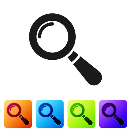 Grey Magnifying glass icon isolated on white background. Search, focus, zoom, business symbol. Set icon in color square buttons. Vector Illustration