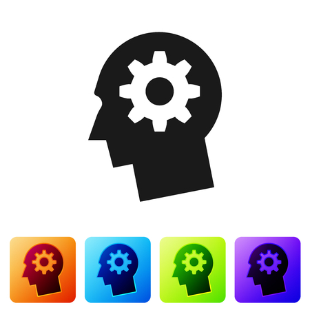 Grey Human head with gear inside icon isolated on white background. Artificial intelligence. Thinking brain sign. Symbol work of brain. Set icon in color square buttons. Vector Illustration Stock Illustratie