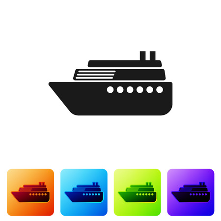 Black Ship icon isolated on white background. Set icon in color square buttons. Vector Illustration