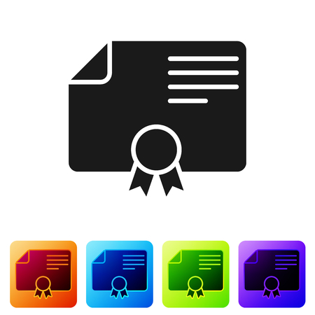 Grey Certificate template icon isolated on white background. Degree icon. Achievement, award, grant, diploma. Business success certificate. Set icon in color square buttons. Vector Illustration Çizim