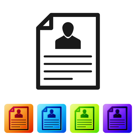 Grey Resume icon isolated on white background. CV application. Searching professional staff. Analyzing personnel resume. Set icon in color square buttons. Vector Illustration