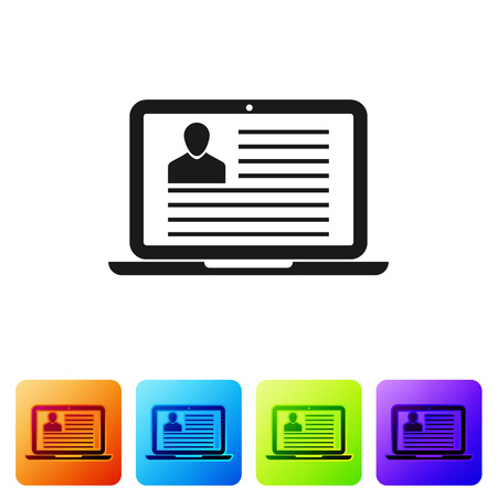 Black Laptop with resume icon isolated on white background. CV application. Searching professional staff. Analyzing personnel resume. Set icon in color square buttons. Vector Illustration