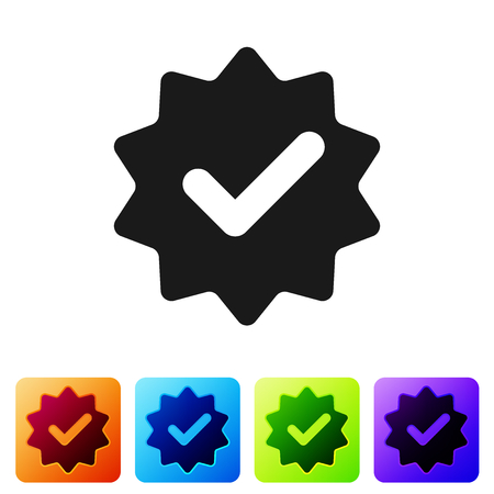 Grey Approved or certified medal with ribbons and check mark icon isolated on white background. Set icon in color square buttons. Vector Illustration