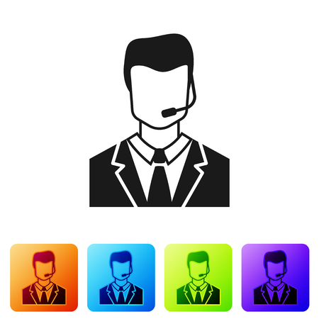 Grey Man with a headset icon isolated on white background. Support operator in touch. Concept for call center, client support service. Set icon in color square buttons. Vector Illustration Çizim