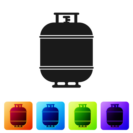 Black Propane gas tank icon isolated on white background. Flammable gas tank icon. Set icon in color square buttons. Vector Illustration