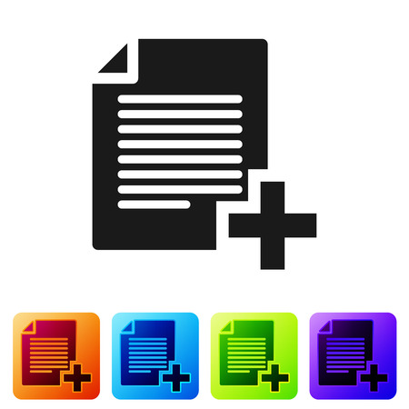 Black Add new file icon isolated on white background. Copy document icon. Set icon in color square buttons. Vector Illustration Çizim