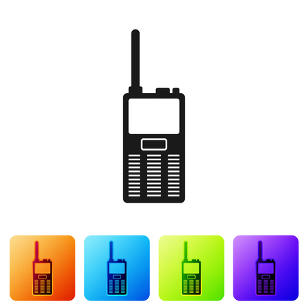 Black Walkie talkie icon isolated on white background. Portable radio transmitter icon. Radio transceiver sign. Set icon in color square buttons. Vector Illustration