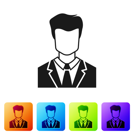 Grey User of man in business suit icon isolated on white background. Business avatar symbol - user profile icon. Male user sign. Set icon in color square buttons. Vector Illustration Çizim