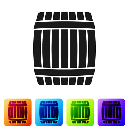 Black Wooden barrel icon isolated on white background. Set icon in color square buttons. Vector Illustration Ilustração