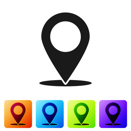 Grey Map pin icon isolated on white background. Pointer symbol. Location sign. Navigation map, gps, direction, place, compass, search concept. Set icon in color square buttons. Vector Illustration