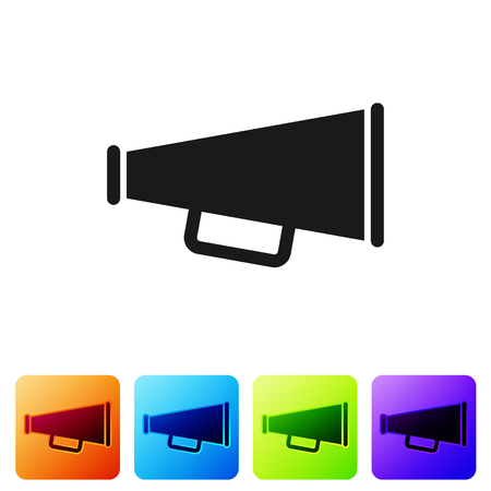 Grey Megaphone icon isolated on white background. Set icon in color square buttons. Vector Illustration