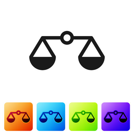 Grey Scales of justice icon isolated on white background. Court of law symbol. Balance scale sign. Set icon in color square buttons. Vector Illustration