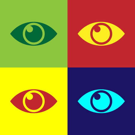 Color Eye icon isolated on color backgrounds. Flat design. Vector Illustration Banque d'images - 124860624