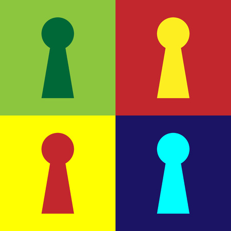 Color Keyhole icon isolated on color backgrounds. Key of success solution. Keyhole express the concept of riddle, secret, peeping, safety, security. Flat design. Vector Illustration