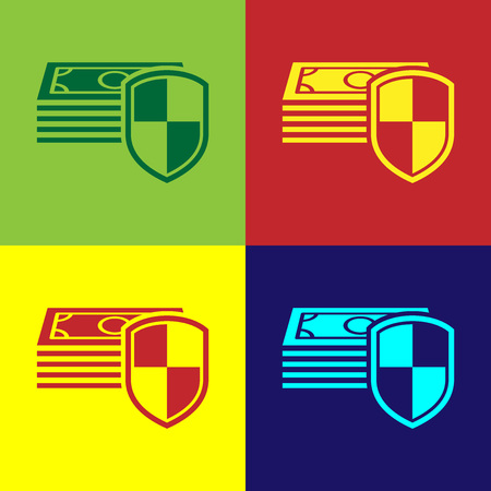 Color Money protection icon on color backgrounds. Financial security, bank account protection, fraud prevention, secure money transaction, secure payment. Flat design. Vector Illustration Illustration