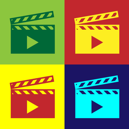 Color Movie clapper icon isolated on color backgrounds. Film clapper board icon. Clapperboard sign. Cinema production or media industry concept. Flat design. Vector Illustration