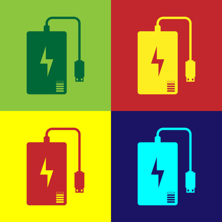 Color Power bank with different charge cable icon isolated on color backgrounds. Portable charging device. Flat design. Vector Illustration