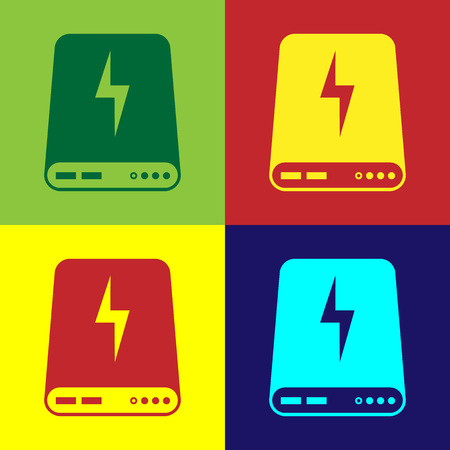 Color Power bank icon isolated on color backgrounds. Portable charging device. Flat design. Vector Illustration