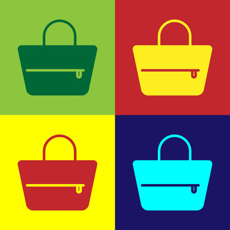 Color Handbag icon isolated on color backgrounds. Female handbag sign. Glamour casual baggage symbol. Flat design. Vector Illustration