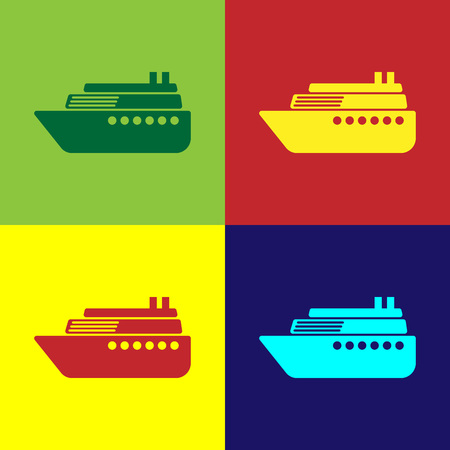Color Ship icon isolated on color backgrounds. Flat design. Vector Illustration Standard-Bild - 124860653