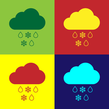 Color Cloud with snow and rain icon isolated on color backgrounds. Weather icon. Flat design. Vector Illustration