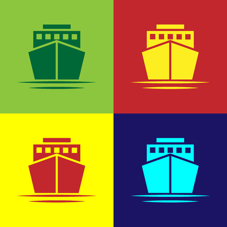 Color Ship icon isolated on color backgrounds. Flat design. Vector Illustration