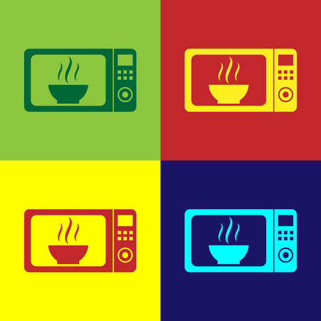 Color Microwave oven icon isolated on color backgrounds. Home appliances icon.Flat design. Vector Illustration