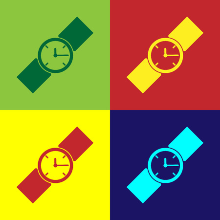 Color Wrist watch icon isolated on color backgrounds. Wristwatch icon. Flat design. Vector Illustration
