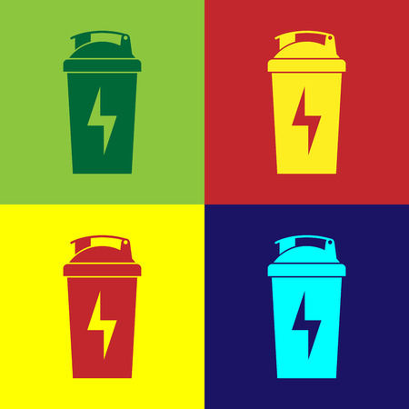 Color Fitness shaker icon isolated on color backgrounds. Sports shaker bottle with lid for water and protein cocktails. Flat design. Vector Illustration