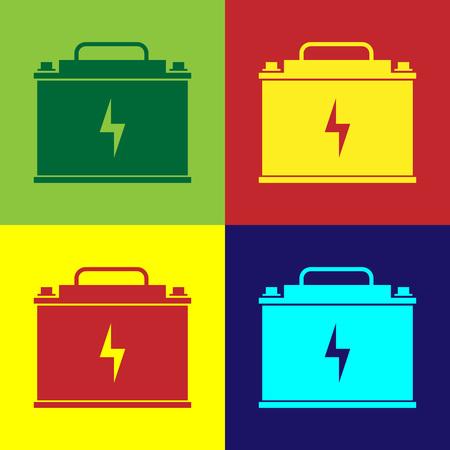 Color Car battery icon isolated on color backgrounds. Accumulator battery energy power and electricity accumulator battery. Lightning bolt symbol. Flat design. Vector Illustration Ilustração
