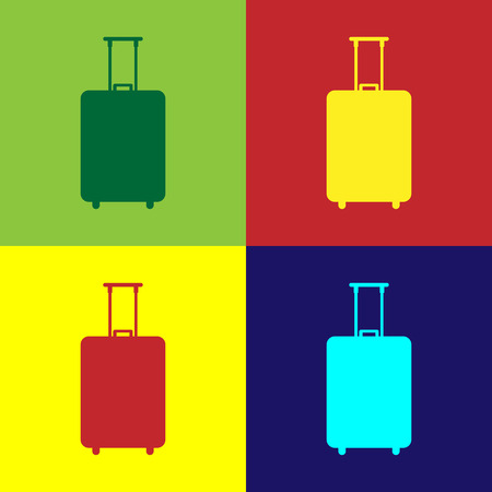 Color Travel suitcase icon isolated on color backgrounds. Traveling baggage sign. Travel luggage icon. Flat design. Vector Illustration