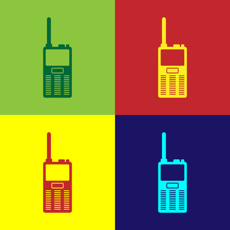 Color Walkie talkie icon isolated on color backgrounds. Portable radio transmitter icon. Radio transceiver sign. Flat design. Vector Illustration