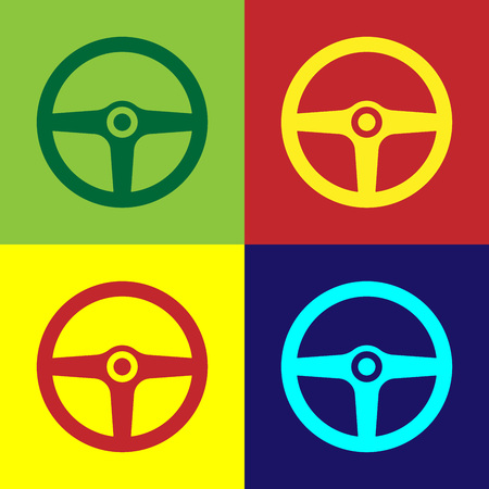Color Steering wheel icon isolated on color backgrounds. Car wheel icon. Flat design. Vector Illustration Standard-Bild - 124860682