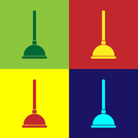 Color Rubber plunger with wooden handle for pipe cleaning icon isolated on color backgrounds. Toilet plunger. Flat design. Vector Illustration