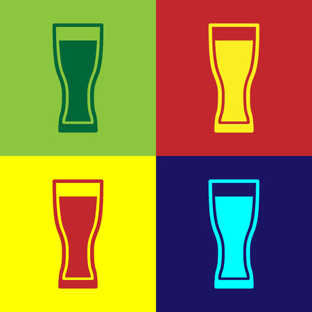Color Glass of beer icon isolated on color backgrounds. Flat design. Vector Illustration Çizim