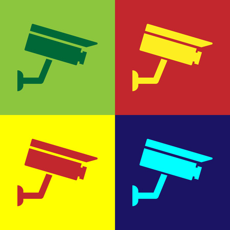 Color Security camera icon isolated on color backgrounds. Flat design. Vector Illustration