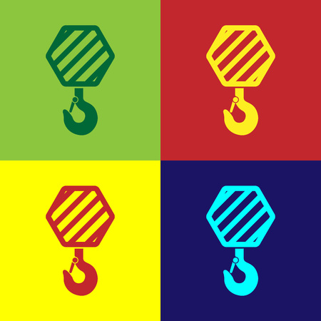 Color Industrial hook icon isolated on color backgrounds. Crane hook icon. Flat design. Vector Illustration Ilustração